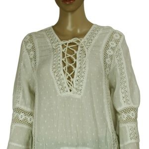 Free People Tops - New Free People Crochet Lace Dot Pattern Bell Top